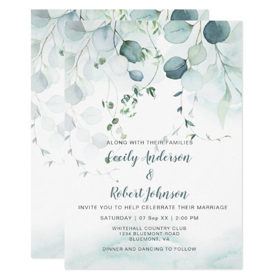 Dusty Blue & Sage Green Eucalyptus Wedding Invitation