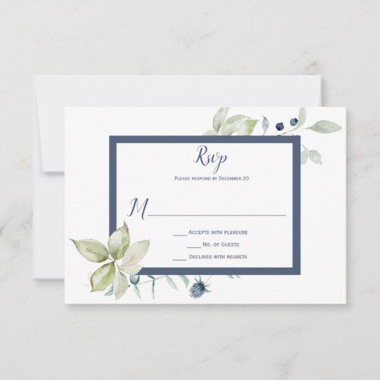 Dusty Blue Sage Green Framed Winter Floral RSVP Card