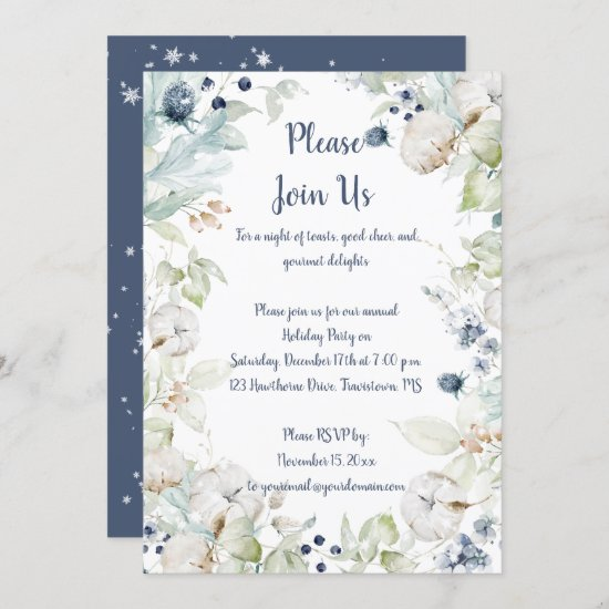 Dusty Blue Sage Green Snowflakes Christmas Party Invitation