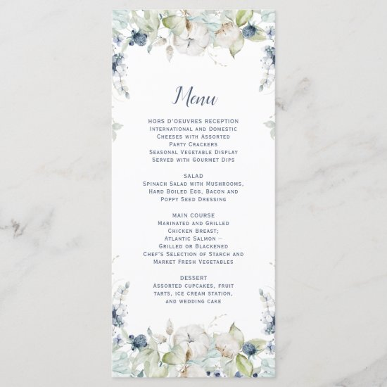 Dusty Blue Sage Green Watercolor Winter Floral Menu