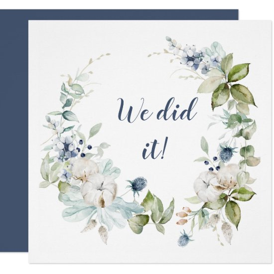 Dusty Blue Sage Green Winter Floral Reception Only Invitation