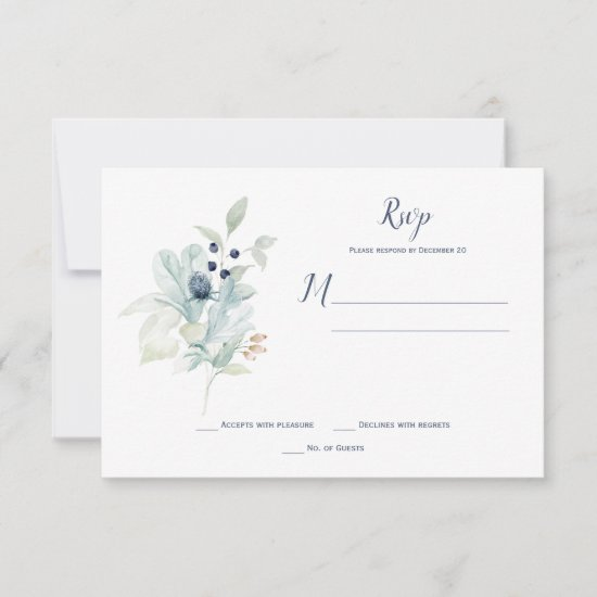 Dusty Blue Sage Green Winter Floral RSVP Card