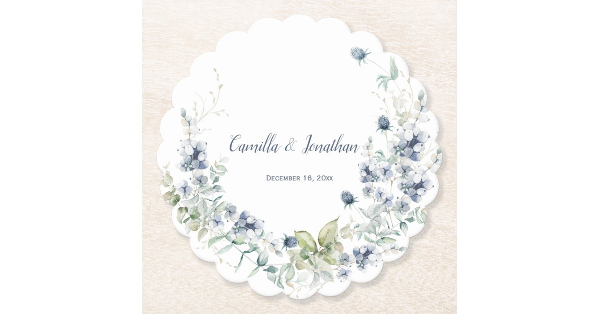 Dusty Blue Sage Green Winter Floral Wedding Paper Coaster Zazzle Com