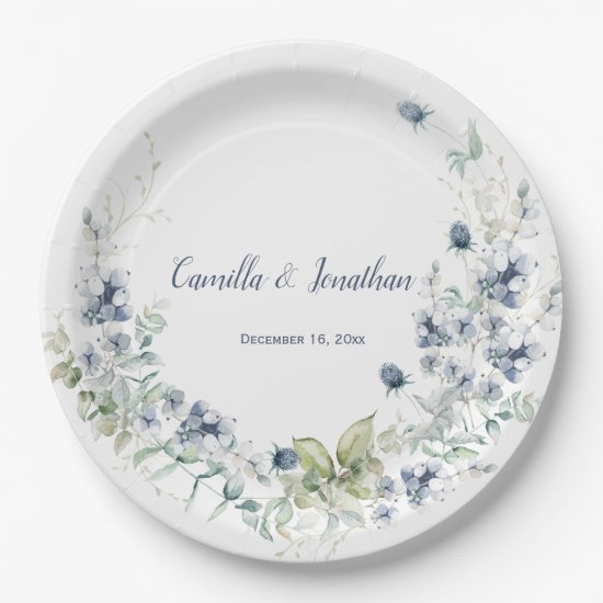 Dusty Blue Sage Green Winter Floral Wedding Paper Plate