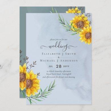 Dusty Blue Sage Sunflowers Rustic Boho Wedding