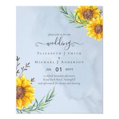 Dusty Blue Sage Sunflowers Rustic Boho Wedding Fly Flyer
