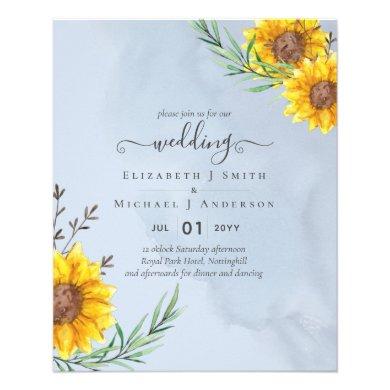 Dusty Blue Sage Sunflowers Rustic Boho Wedding Flyer