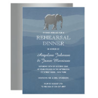 Dusty Blue & Silver Foil Wedding Rehearsal Dinner Invitation
