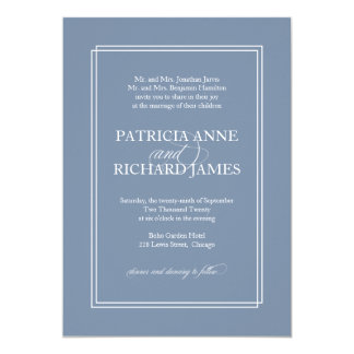 Dusty Blue Simple Elegant Formal Wedding Invitation