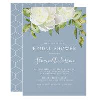 Dusty Blue Spring Floral Peony Bridal Shower Invitation