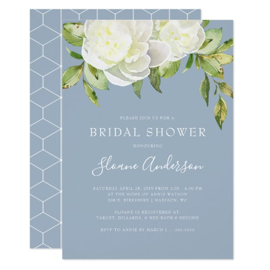 b655addecffc Dusty Blue Spring Floral Peony Bridal Shower Invitation