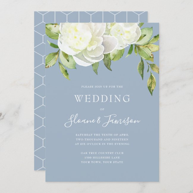 Dusty Blue Spring Floral Peony Wedding Invitation