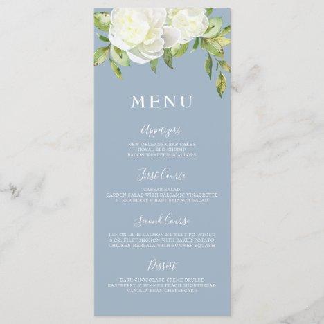 Dusty Blue Spring Floral Peony Wedding Menu