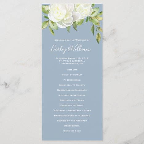 Dusty Blue Spring Floral Peony Wedding Program