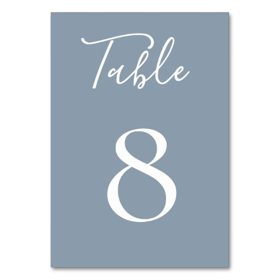 Dusty Blue Table Number Card
