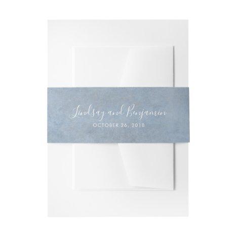 Dusty Blue Texture Modern Wedding Invitation Belly Band