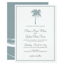 Dusty Blue Tropical Palm Tree Wedding Invitations