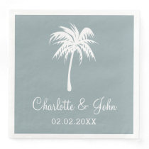 Dusty Blue Tropical Palm Tree Wedding Napkins