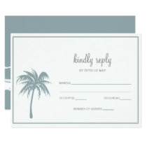 Dusty Blue Tropical Palm Tree Wedding rsvp Card