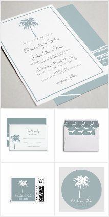 Dusty Blue Tropical Palm Tree Wedding Set