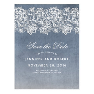 Dusty Blue Vintage Lace Save the Date Postcard
