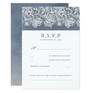 Dusty Blue Vintage Lace Wedding RSVP Card