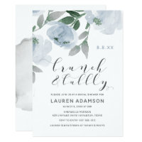 Dusty Blue Watercolor Bridal Brunch Bubbly Shower Invitation