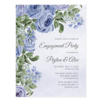 Dusty Blue Watercolor Floral Engagement Postcard