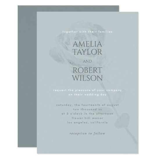 Dusty Blue Watercolor Floral Invitation