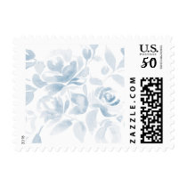 Dusty Blue Watercolor Floral Postage