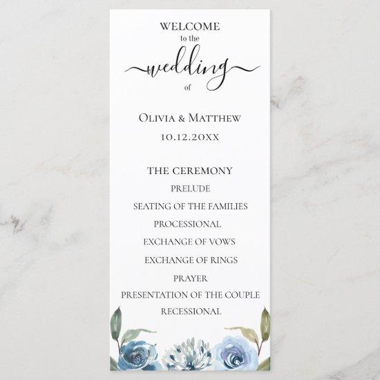 Dusty Blue Watercolor Floral Wedding Program