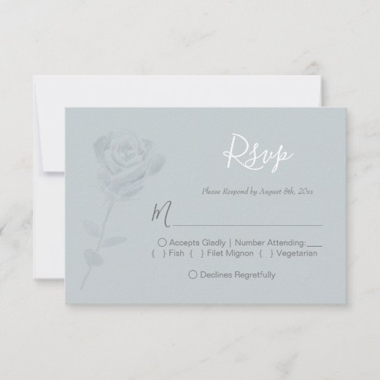 Dusty Blue Watercolor Floral Wedding RSVP Card
