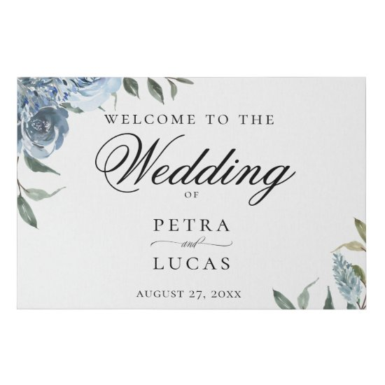 Dusty Blue Watercolor Floral Wedding Welcome Faux Canvas Print