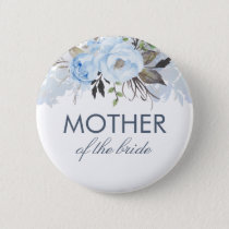Dusty Blue Watercolor Flowers Elegant Wedding Pinback Button