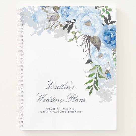 Dusty Blue Watercolor Flowers Elegant Wedding Plan Notebook