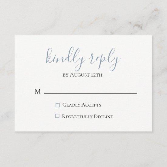 Dusty Blue Wedding RSVP Card