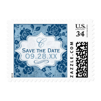 Dusty Blue, White Floral Damask Save the Date Stamp