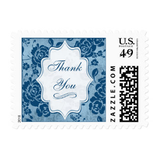 Dusty Blue, White Floral Damask Thank You Postage