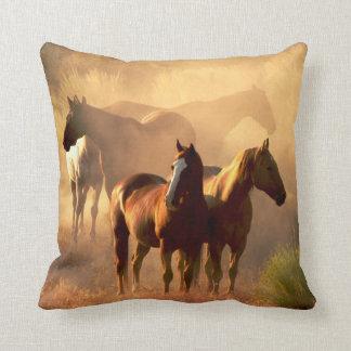 DUSTY BROWN HORSES CUSHION THROW PILLOW