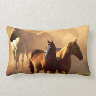 DUSTY BROWN HORSES PILLOW