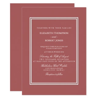 Dusty Cedar Brown with White Wedding Detail Card