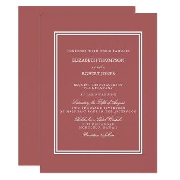 Beach Themed Dusty Cedar Brown with White Wedding Detail Card
