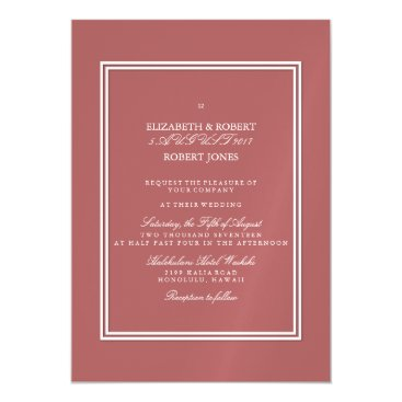 Beach Themed Dusty Cedar Brown with White Wedding Detail Magnetic Card