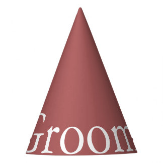 Dusty Cedar Brown with White Wedding Detail Party Hat