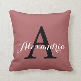 Dusty Cedar Warm Rose Pink Solid Color Monogram Throw Pillow