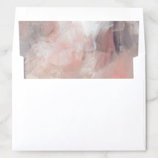 Dusty Coral and Gray Modern Abstract Brushstrokes Envelope Liner