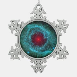 Dusty Eye of Helix Nebula NGC 7293 Snowflake Pewter Christmas Ornament