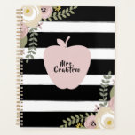 "Dusty Floral Apple Black   White Stripe Teacher Planner<br><div class=""desc"">A teacher planner featuring an illustration of a pink apple over a black and white striped background.  floral designs at top left and bottom right.  Personalize with your name on front.</div>"