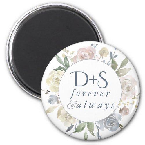 Dusty Floral  Mute Pastel Monogram Keepsake Favor Magnet