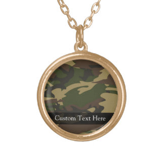 Dusty Green Camo Gold Plated Necklace